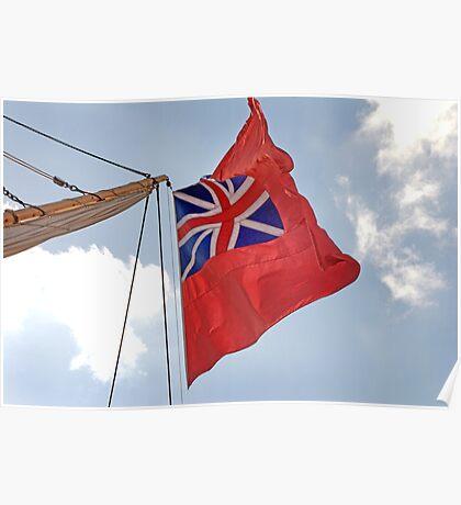 British ensign flag on ship, Brest 2008 Maritime Festival, Brittany, France Poster