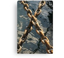 Crossed rusty ship chains in harbour, Brest, France Canvas Print