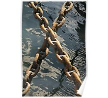 Crossed rusty ship chains in harbour, Brest, France Poster
