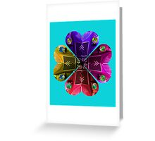 LOVE CITROEN 2CV DEUX CHEVEUX CAR FLOWER - on sky blue  Greeting Card