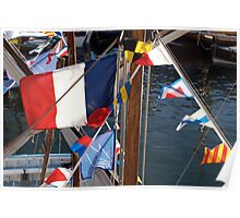 French tricolore and flag pennants on boat mast, Brest 2008 maritime festival, France Poster