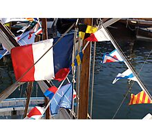 French tricolore and flag pennants on boat mast, Brest 2008 maritime festival, France Photographic Print