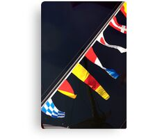Colourful flag pennants with ships rigging reflected in water, Brest 2008 maritime festival, France Canvas Print