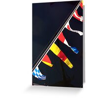 Colourful flag pennants with ships rigging reflected in water, Brest 2008 maritime festival, France Greeting Card