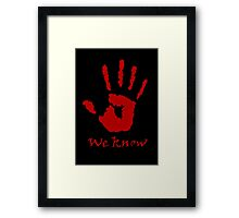 We Know Letter (Red) - The Dark Brotherhood Framed Print