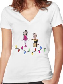 Stop Motion Christmas - Jeff/Annie (Style B) Women's Fitted V-Neck T-Shirt