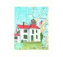 Grand Traverse Lighthouse Lake MI Map Cathy Peek Art Print