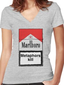 Metaphors Kill Women's Fitted V-Neck T-Shirt