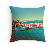 Psychedelic Boat Throw Pillow