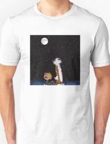 calvin and hobbes lunar night sky  T-Shirt