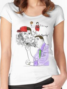Drake, Lil Wayne, Jay-Z, and Derrick Rose. Women's Fitted Scoop T-Shirt