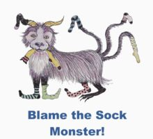 Blame the Sock Monster - T shirt by Dianne  Ilka
