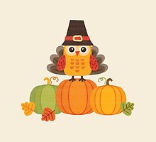 Thanksgiving Owl in Turkey Costume on Pumpkins by daisy-beatrice