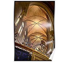 Vaults of Notre Dame, Paris, France.  Poster