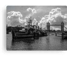 HMS Belfast and Tower Bridge Canvas Print