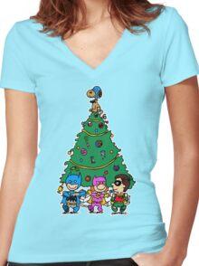 Gotham City Christmas Women's Fitted V-Neck T-Shirt