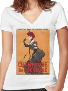 Belle epoque French champagne advertising Women's Fitted V-Neck T-Shirt