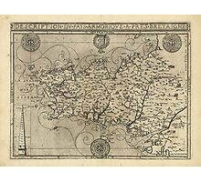 Regional Map of Brittany and Armorica France (1594) Photographic Print