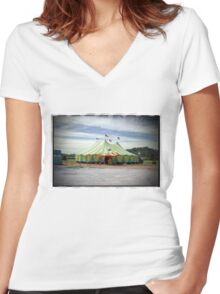 Circus Tent Women's Fitted V-Neck T-Shirt