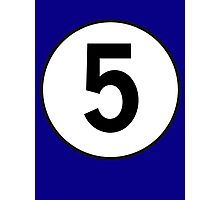 5, Five, Fifth, Number Five, Number 5, Racing, Five, Competition, on Navy Blue Photographic Print