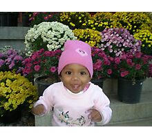 Cute kid inbetween the flowers Photographic Print