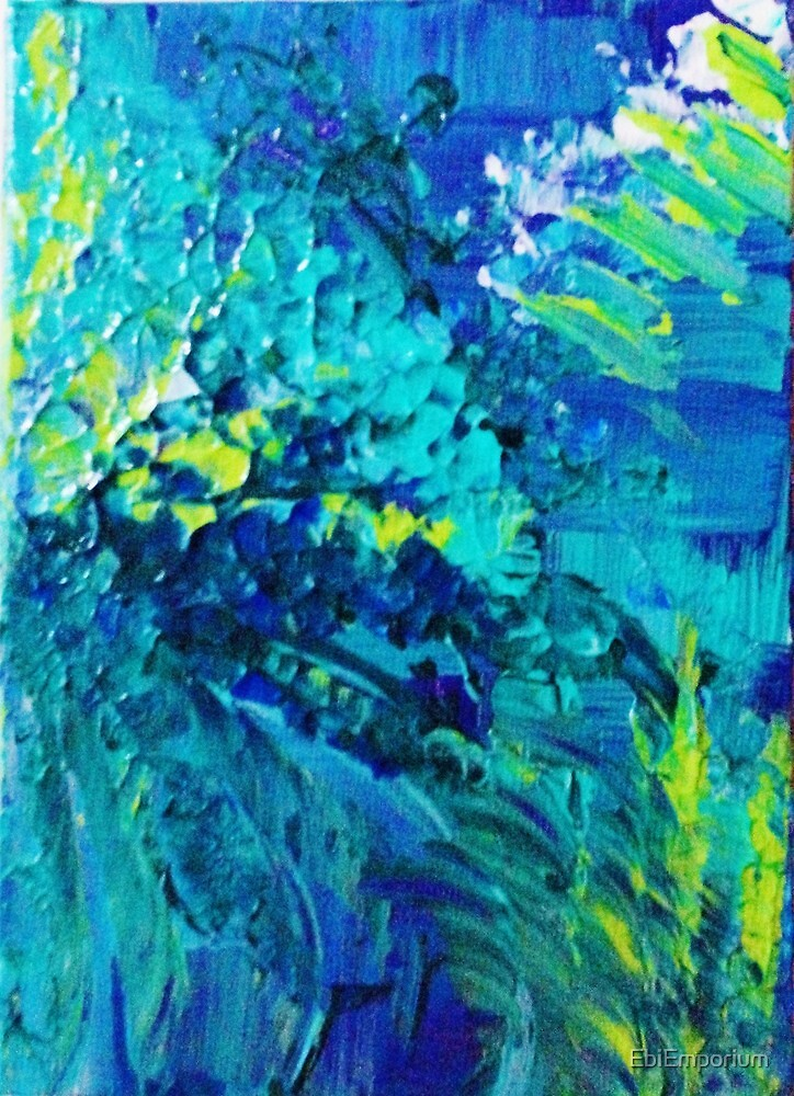 DIVE IN Abstract Acrylic Painting Ocean Waves Beach Art by EbiEmporium