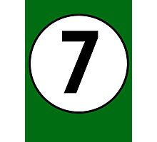 7, SEVEN, LUCKY, Seventh, Number Seven, Number 7, Racing, Seven, Competition, BRITISH RACING GREEN Photographic Print