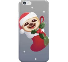 Christmas Santa Boot Baby Sloth iPhone Case/Skin