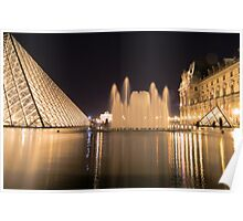 Louvre and fountain at night in Paris  Poster