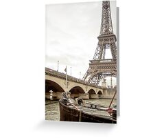 Paris, the Seine river and a bridge in France  Greeting Card