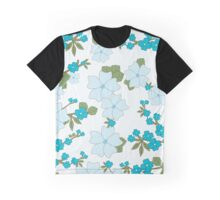 Flowers, Petals, Leaves, Blossoms - Blue Green Graphic T-Shirt
