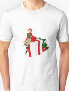 elf sits on the gift T-Shirt