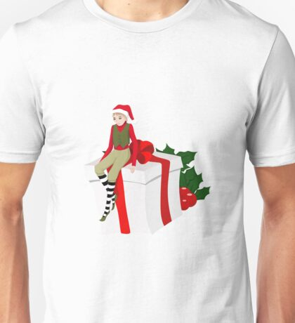 elf sits on the gift Unisex T-Shirt