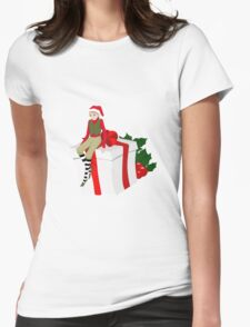 elf sits on the gift Womens Fitted T-Shirt