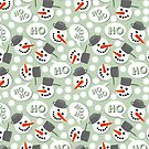 cute winter pattern with hoho snowmans on retro blue dotted background by demonique