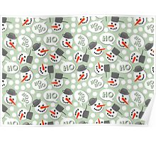 cute winter pattern with hoho snowmans on retro blue dotted background Poster