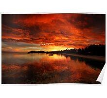Mana Island Sunset Poster