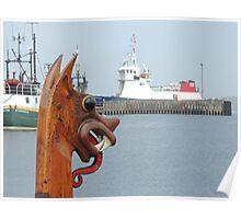 'Dim Riv', replica Viking boat in Lerwick harbour, Shetland Poster