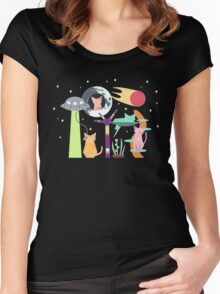 Alien Cat Tower Women's Fitted Scoop T-Shirt