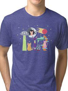 Alien Cat Tower Tri-blend T-Shirt