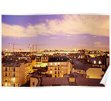 Paris rooftops at night, France  Poster