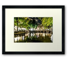 night canal in Amsterdam, Netherlands Framed Print