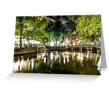 night canal in Amsterdam, Netherlands Greeting Card