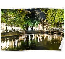 night canal in Amsterdam, Netherlands Poster