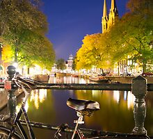 Canal at night in Amsterdam, Netherlands by hpostant