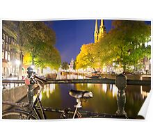 Canal at night in Amsterdam, Netherlands Poster