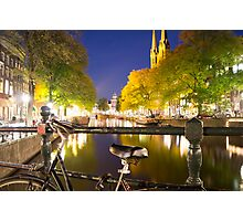 Canal at night in Amsterdam, Netherlands Photographic Print
