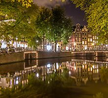 Canal at night in Amsterdam, Netherlands 2  by hpostant