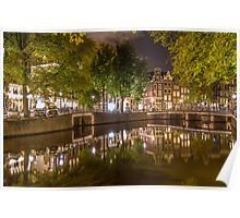 Canal at night in Amsterdam, Netherlands 2  Poster