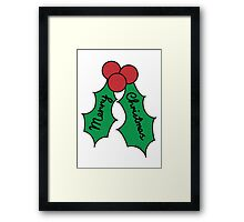 Merry Christmas Holly Framed Print